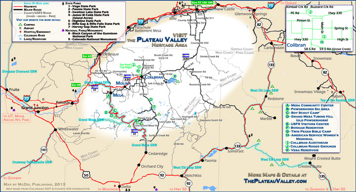 map of The Plateau Valley Heritage Area
